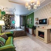 гостинная спальня в хрущевке зеленая