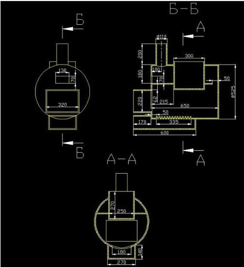 чертеж печи из трубы