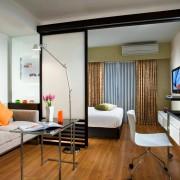 гостинная спальня в хрущевке с перегородкой